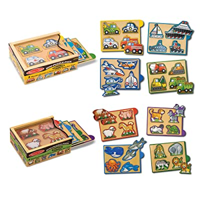 Melissa & Doug Wooden Mini-Puzzle Set With Storage and Travel Case: Melissa & Doug: Toys & Games