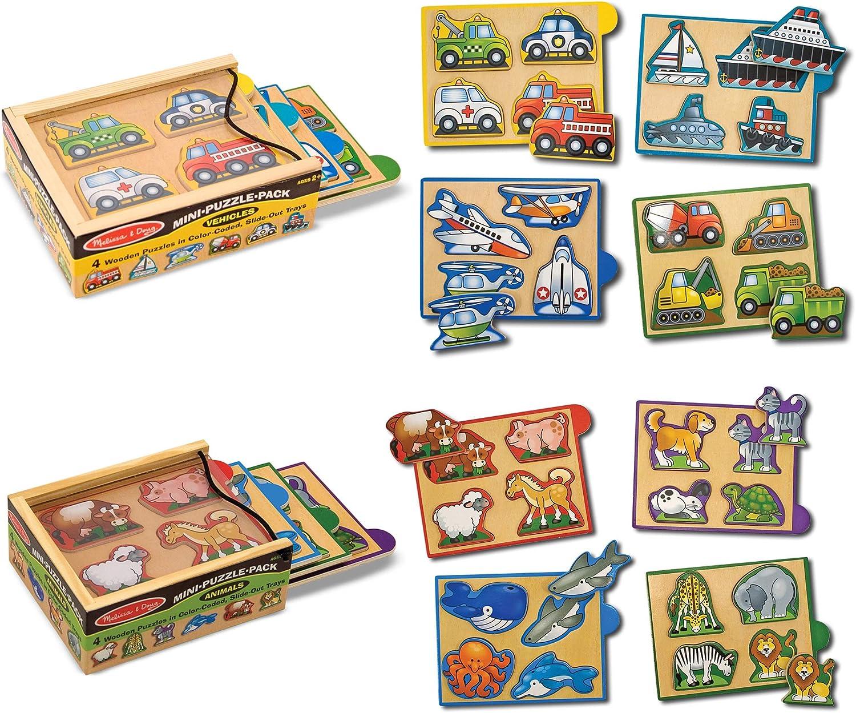 Melissa /& Doug Animals Wooden Mini-Puzzle Set With Storage and Travel Case