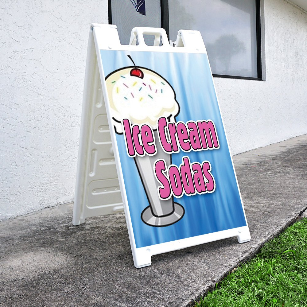 """Ice Cream Sodas 24 X 36 Print Size SignMission A-Frame Sidewalk Sign with Graphics On Each Side Heavy Duty 24/""""x36"""