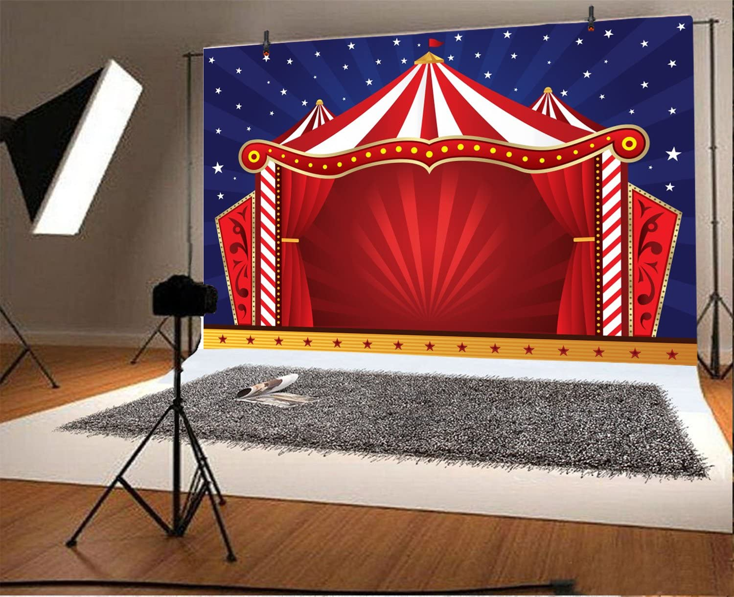 Baocicco 10x6.5ft Circus Backdrop Photography Background Red Stage Starry Sky Carnival Background Dome Banner Animal Performance Leisure Entertainment Children Party Portraits