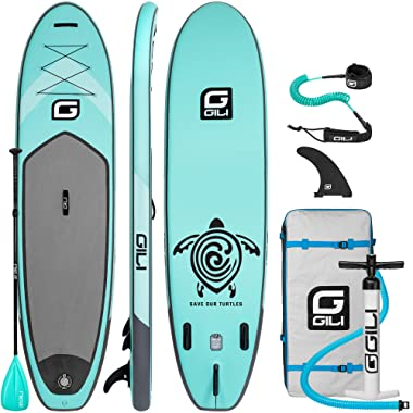 GILI All Around Inflatable Stand Up Paddle Board Package | 10'6 Long x 31  Wide x 6  Thick | Lightweight & Durable SUP | Stable & Wide Stance