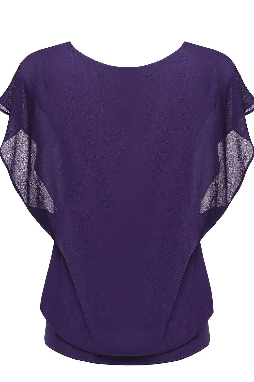 Zeagoo Womens Chiffon Loose Lace Batwing Short Flutter Sleeve Blouse Tops