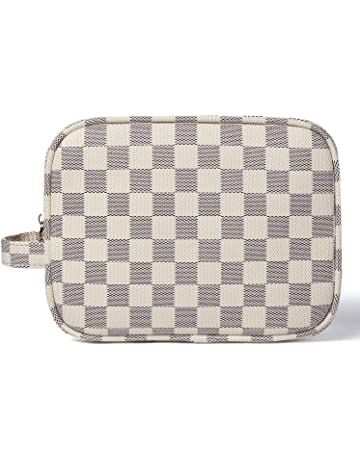 2721421f4 Daisy Rose Luxury Checkered Make Up Bag | PU Vegan Leather Cosmetic  toiletry Travel bag