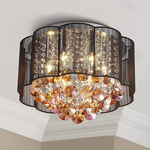 Bestier Modern Crystal Raindrop Black Drum Chandelier Lighting Flush Mount LED Ceiling Light Fixture Lamp
