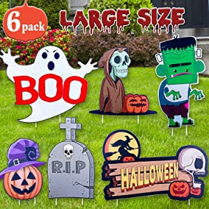 DEMESEX Halloween Decorations Halloween Yard Signs Kid-Friendly Monster/Ghost/Skeleton/Pumpkin Design Large Size Eye-catching Halloween Yard Décor for Lawn, Garden, Yard, Driveway (6pcs)