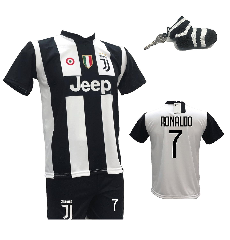 Conjunto de Fútbol, Camiseta de Buffon 1 Juventus + Pantalones con número 1 impreso. Réplica autorizada 2017 - 2018 niño (Tallas 2, 4, 6, 8, 10, ...