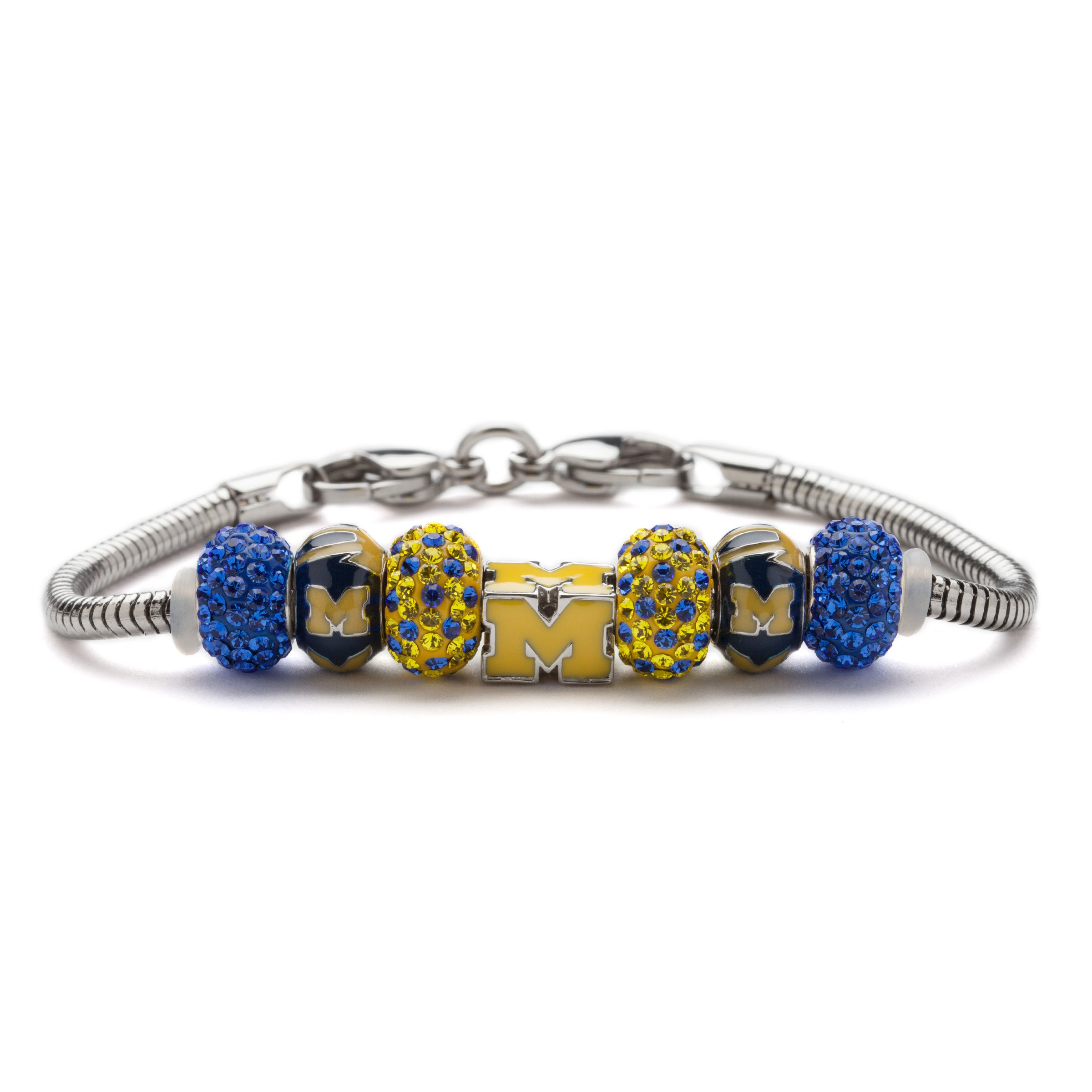 University of Michigan Bracelet   UM M Go Blue Bead Charm Bracelet   Officially Licensed University of Michigan Jewelry   UM Gifts   Michigan Wolverines   UM Jewelry   Stainless Steel