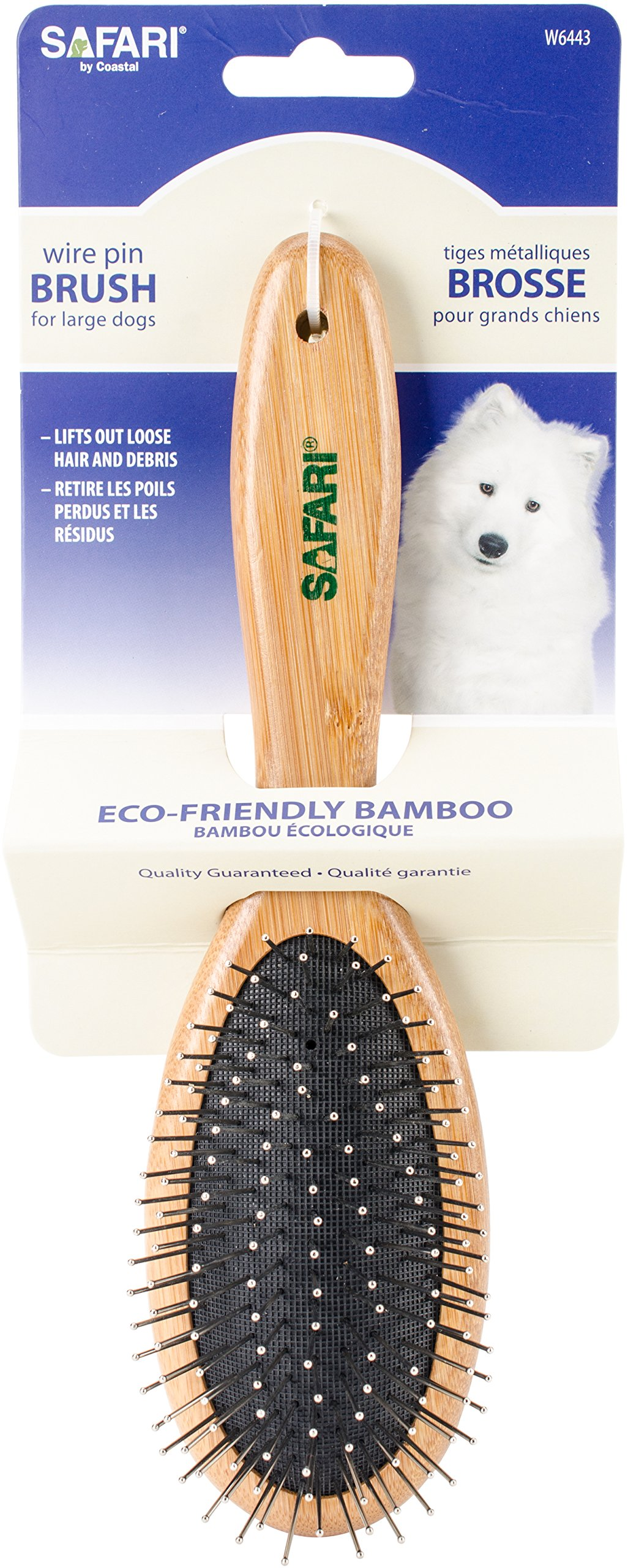 Safari Wire Pin Dog Brush with Bamboo Handle, Medium/Large