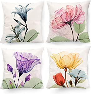 Hexagram Decorative Floral Flower Pillow Covers 18 x 18, Blue Pink Purple Green Yellow Decor Flower Throw Pillow Covers Set of 4 Linen Cushion Case for Living Room Couch Sofa Patio Outdoor Home Decor
