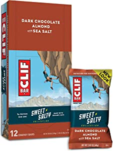 CLIF BARS - Sweet & Salty Energy Bars - Dark Chocolate Almond with Sea Salt - Made with Organic Oats - Plant Based Food - Vegetarian - Kosher (2.4 Ounce Protein Bars, 12 Count) Packaging May Vary