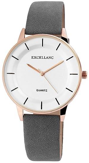 Reloj mujer piel blanco gris oro analógico de cuarzo reloj de pulsera: Amazon.es: Relojes
