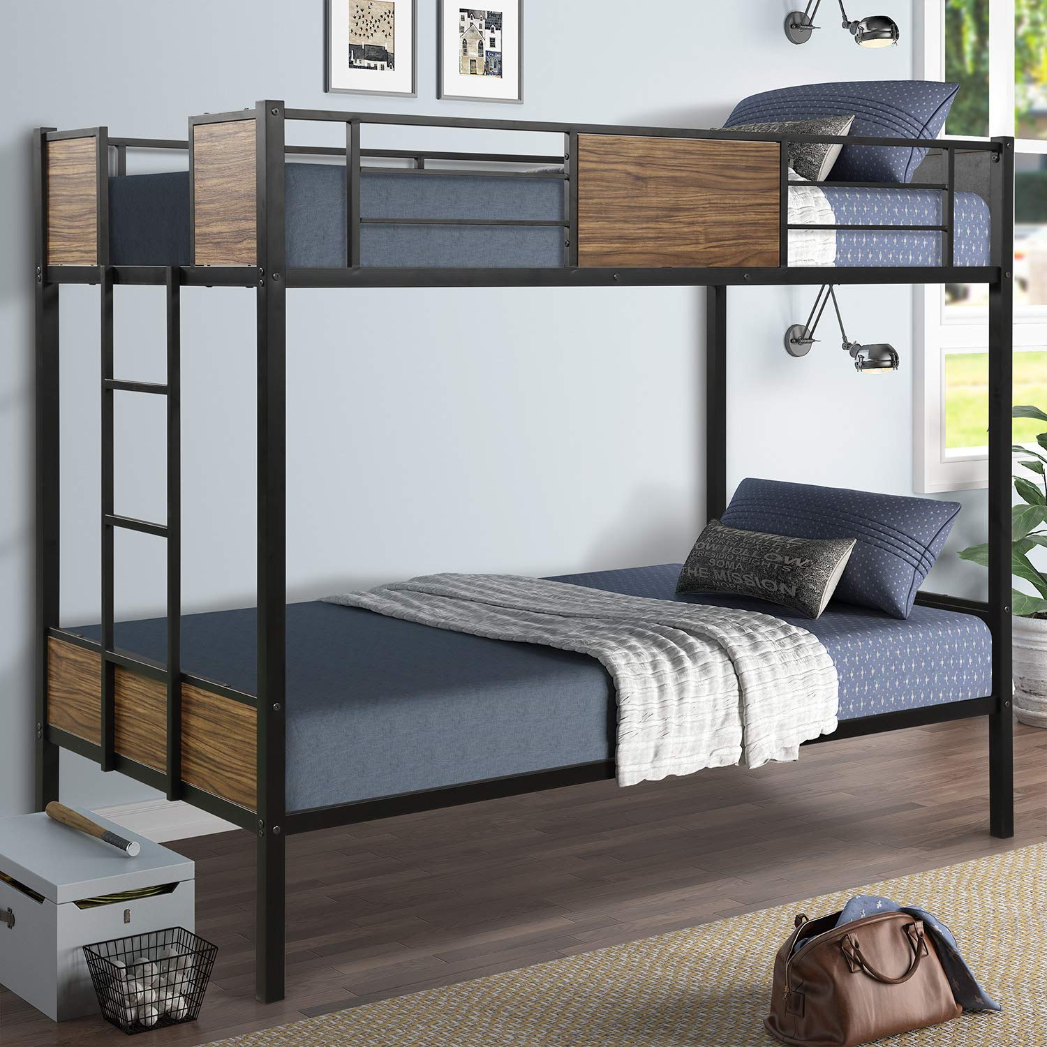 Twin Over Twin Bunk Bed Metal Frame Bunk Bed With Safety Rail Built In Ladder For Boys Girls Adults Bedroom Buy Online In Lithuania At Lithuania Desertcart Com Productid 170135318