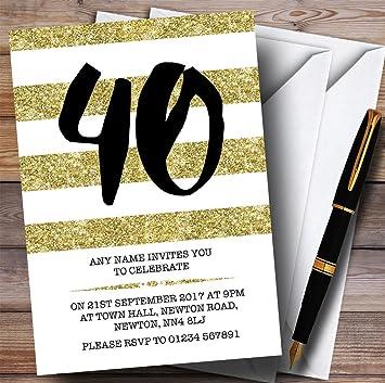 10 X Glitter Gold White Striped 40th Customized Birthday Party Invites
