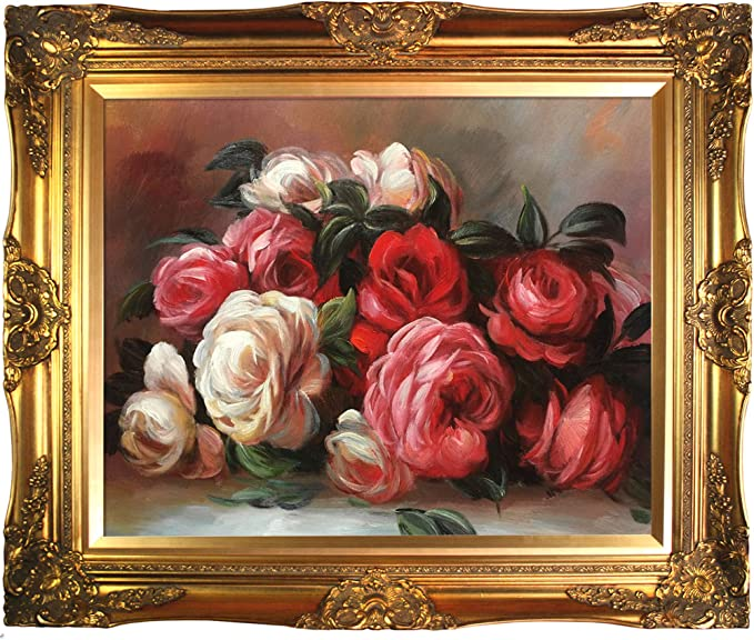 La Pastiche Overstockart Renoir Discarded Roses Artwork With Victorian Gold Frame Finish Multicolor 28 X 24 Oil Paintings Posters Prints Amazon Com
