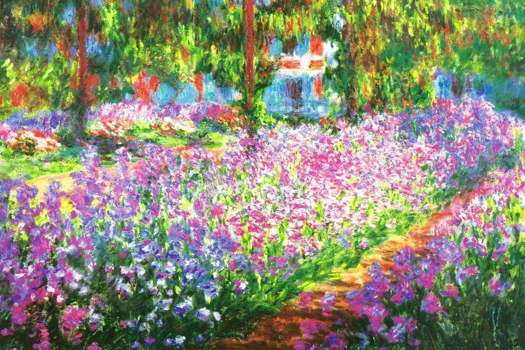 Claude Monet Irises in Monets Flower Garden Cool Wall Decor Art Print Poster 36x24