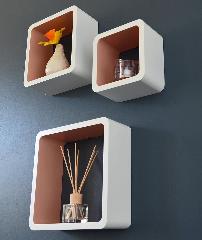 Ts-ideen 3er Set Lounge Cube Regal Design Retro 70er Wandregal Hängeregal in Weiß Hellbraun Cafe Latte