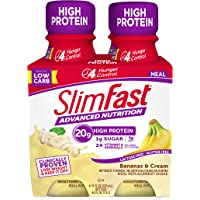 SlimFast Advanced Nutrition Bananas & Cream Shake - Ready to Drink Meal Replacement - 20g Protein - 11 Fl Oz Bottle - 4…
