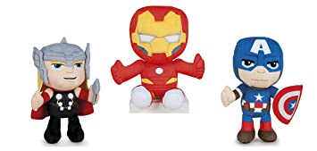 PACK 3 PELUCHES IRON MAN, THOR, CAPITAN AMERICA ...