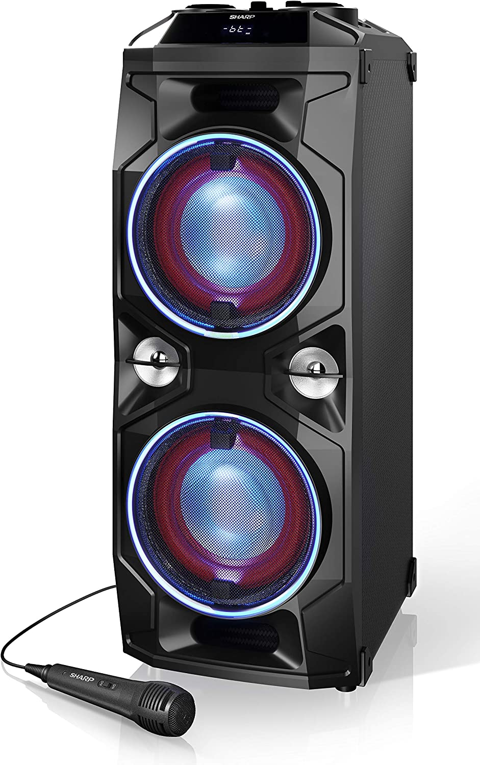 SHARP PS-940 Altavoces Bluetooth Karaoke Party con Mezclador Dj y Batería Recargable Incorporada, Tiempo de Reproducción 14 Horas, 2 x USB, Superbass, Karaoke, Luces LED Parpadeantes, 180 W