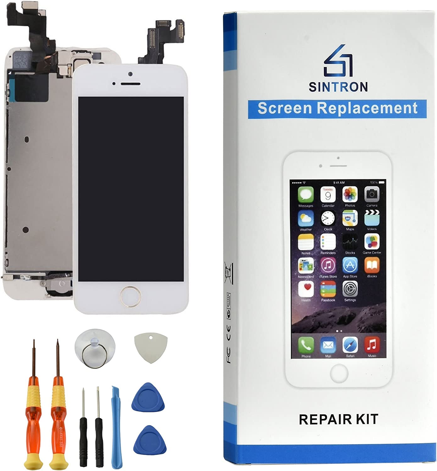 Sintron US Replacement for iPhone Se Fully Assembled-White - 5 oldmodel2 (Compatible with iPhone Se, Fully Assembled-White)