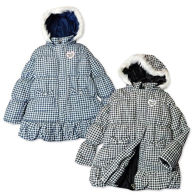 89431764d445b (ブラック 160cm) 子供服 女の子 アウター フルジップ ハーフ コート 中綿 シャーリング ファー付
