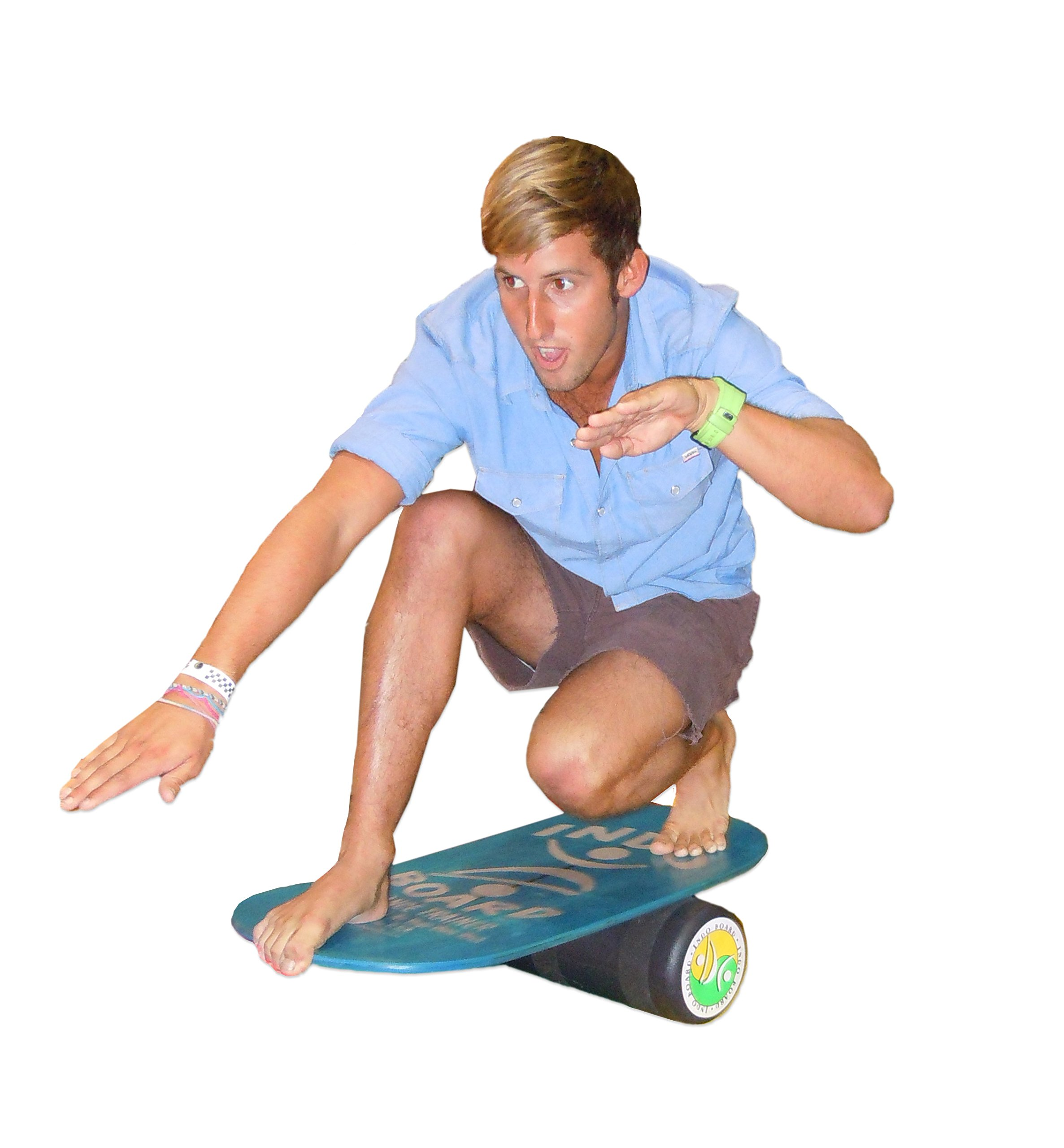 INDO BOARD Rocker Balance Board Package Ages, Improve Balance, Comes with 33'' X 15'' Non-Slip Deck 6.5'' Roller and 14'' Cushion - Mahogany Brown by INDO BOARD (Image #4)