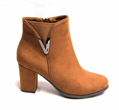 fb185374da4 FLIRTY WARDROBE Womens Ladies Ankle Boots Suede Side Buckle Shoes  Elasticated Zip up Block Heels  Camel