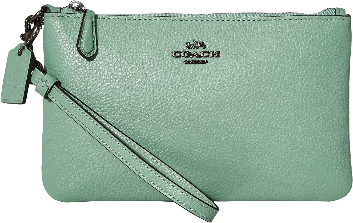 COACH Polished Pebble Small Wristlet V5/Washed Green One Size