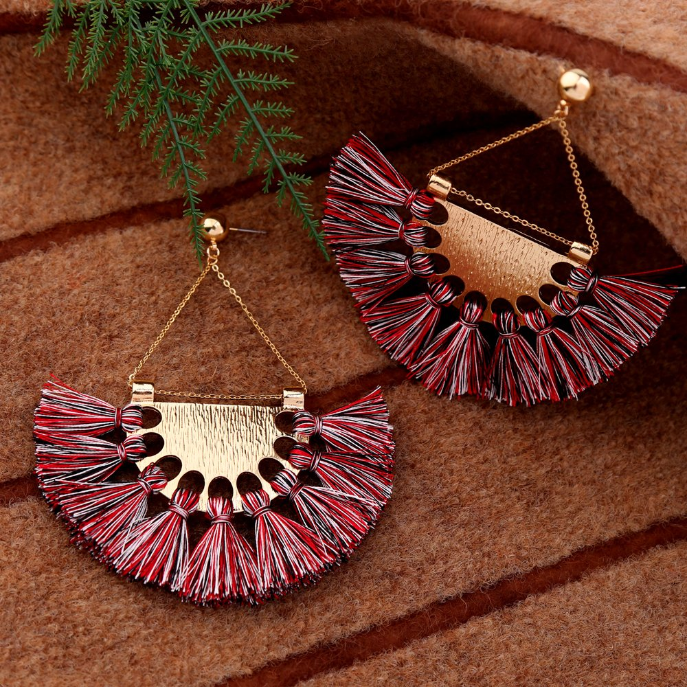 Miss Kiss Valentines Day Zinc Alloy Gold-plated Colored Tassel Semicircle Earrings