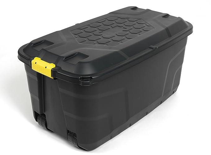 Kreher XXL Transportbox/Kissenbox mit 145 Liter Fassungsvermögen und vier Rollen! Abnehmbarer und abschließbarer Deckel, Näss