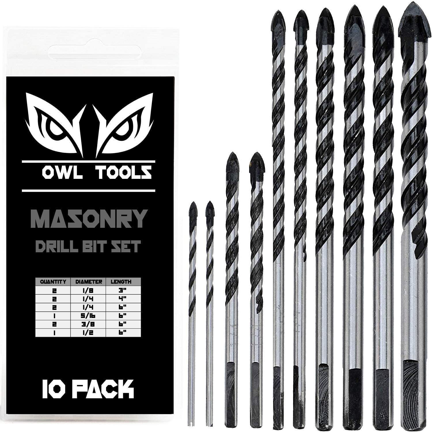 Pack of 10x New Sandvik 8mm x 120mm Masonry Drill Bits