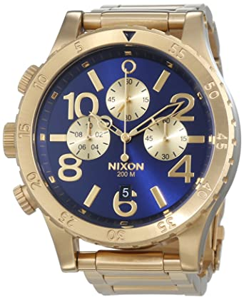 nixon a486 1922 mens 48 20 chrono gold blue sunray watch