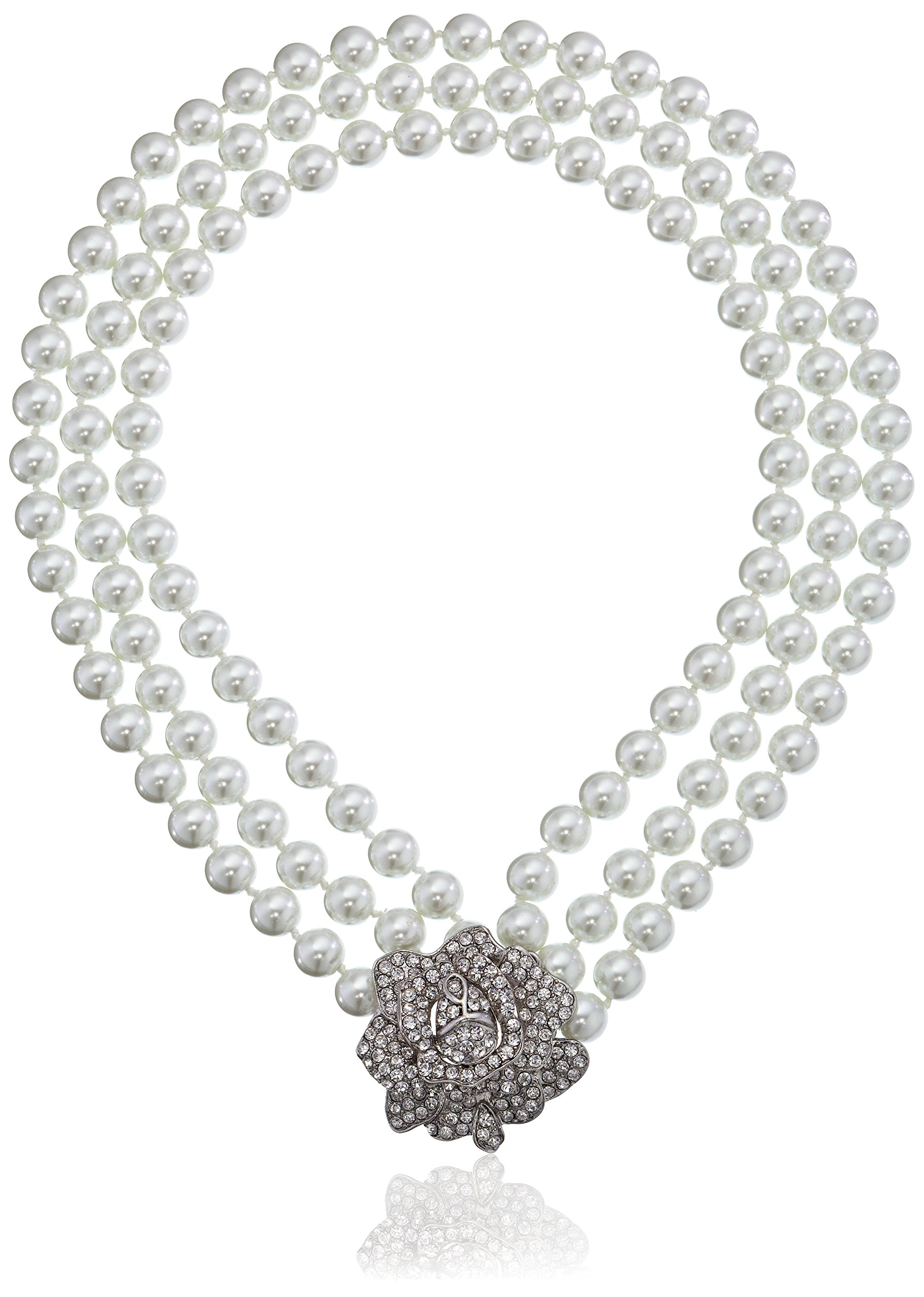Kenneth Jay Lane Bride Rose Three Row Statement Simulated White Crystal Pearl Strand
