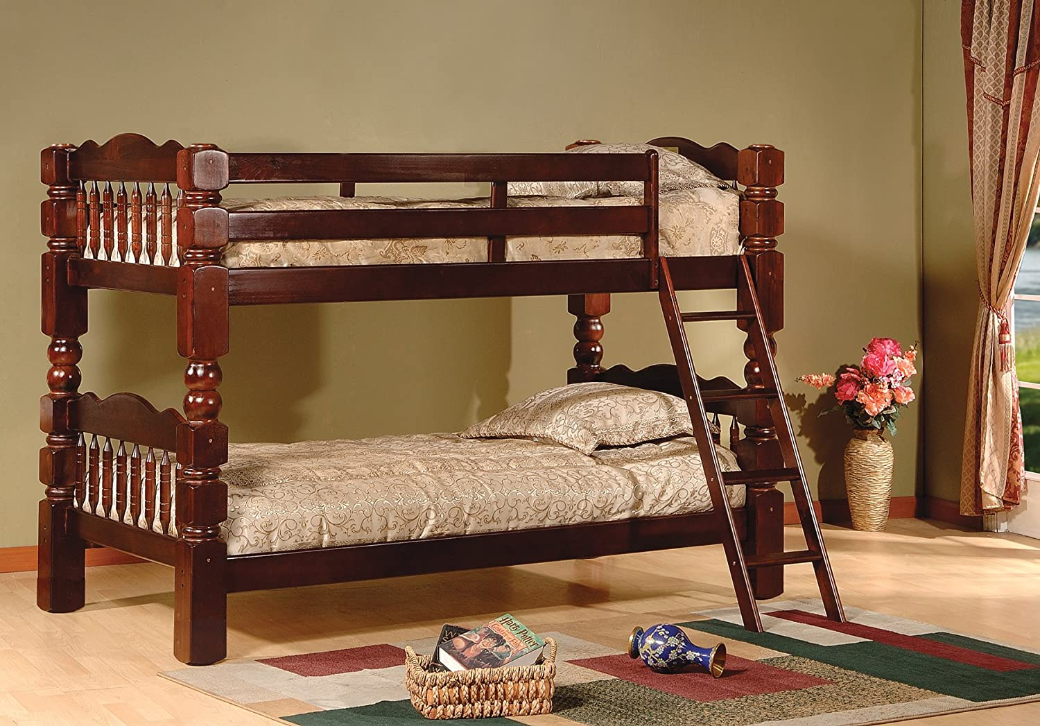 King s Brand Wood Convertible Bunk Bed, Twin, Cherry Finish