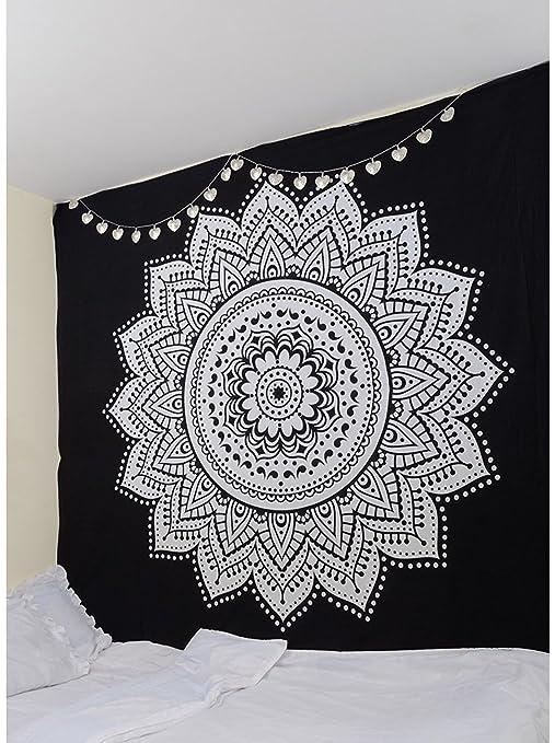 Kikan Tapiz Indio Ombre de Mandala de Flores, 100% algodón, Tapiz ...