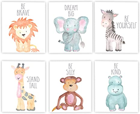 Set of 6 Unframed Great Gifts Baby Shower Stickerbrand Nursery Safari Animal Posters Kids Bedroom Bathroom Decor Baby Elephant Lion Tiger Zebra #P1005 Hippo 8x10 Prints Giraffe