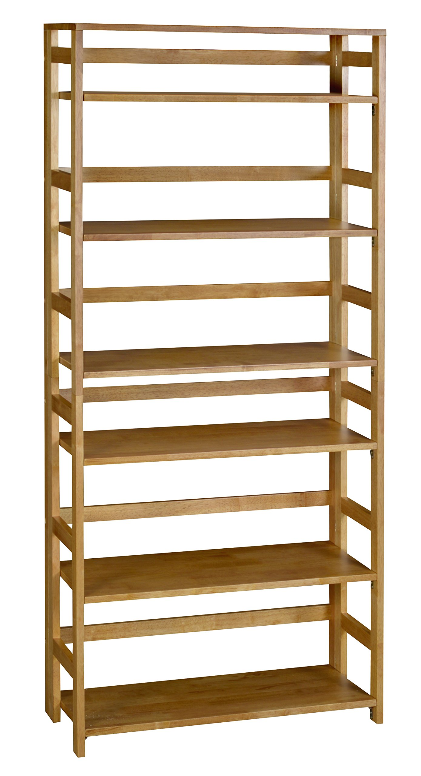 Regency Flip Flop 67-inch High Folding Bookcase- Medium Oak - Shelves flip up and whole bookcase folds flat for easy transportation and storage Assembles without tools in less than 5 minutes 6 flip-down shelves and one fixed top shelf - living-room-furniture, living-room, bookcases-bookshelves - 81xrXUv0eVL -