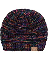 C.C Trendy Warm Chunky Soft Stretch Cable Knit Beanie Skully, Black/Multi