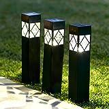 Lot de 3 Bornes Lumineuses Solaires Noires avec LED Blanc Chaud pour Jardin par Lights4fun