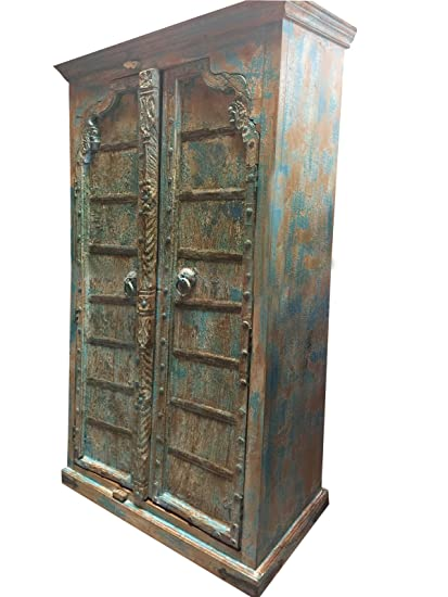 Mogul Interior Antique Arched Door Cabinet, India Furniture, Blue  Distressed Armoire, Iron Nailed