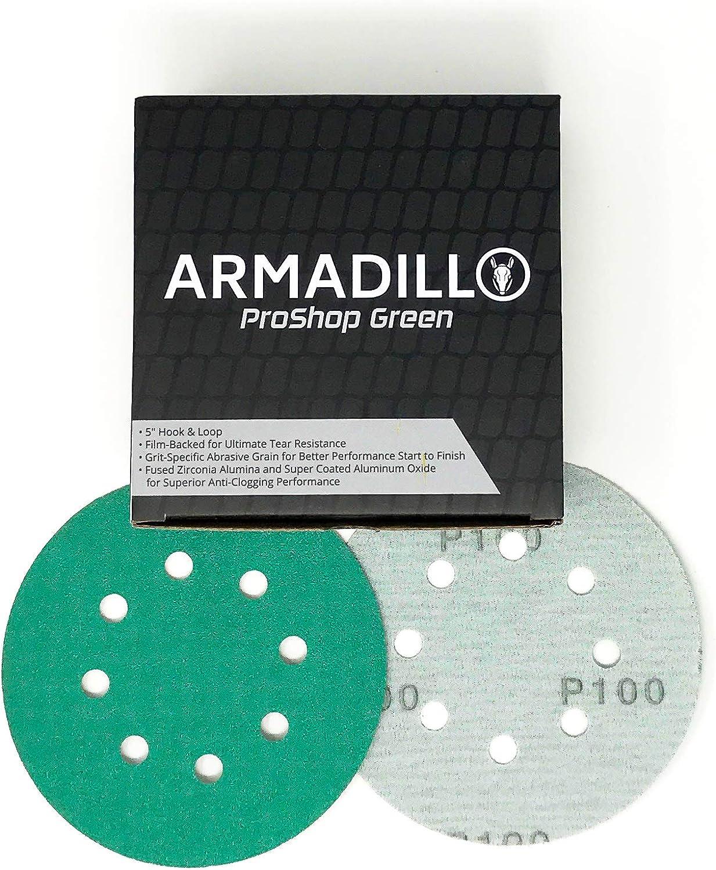 Armadillo ProShop 80 Grit Premium Hook /& Loop Sanding Discs 50 Pack 5 8 Hole Film-Backed Armadillo MFG A-PSG-80