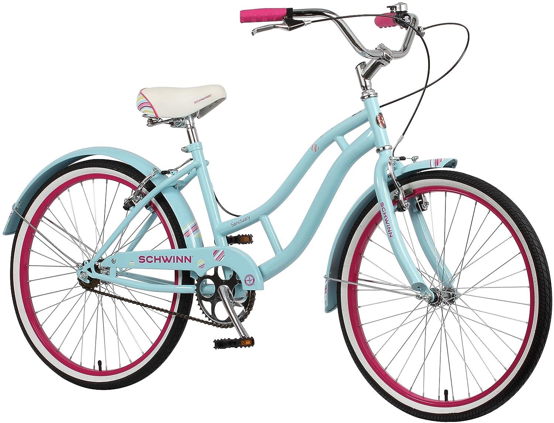 b622cf80810 Schwinn Girls Sanctuary Kids Beach Cruiser Bike, Blue & Pink, 24