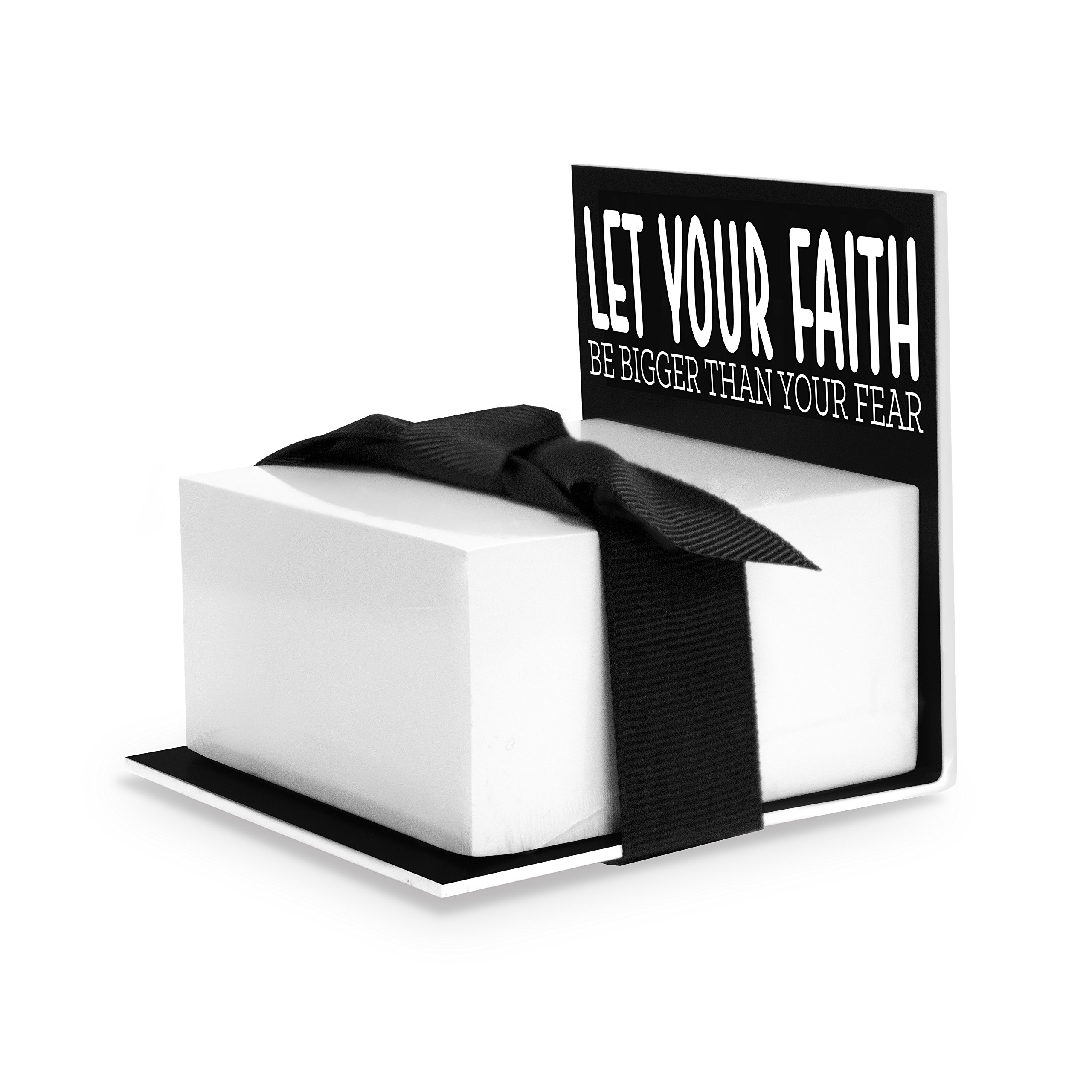 Sticky Notes Holder, Let Your Faith Be Bigger Than Your Fear, Black by Wellspring