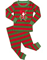 Leveret Boys Girls Christmas Striped Red White Green 2 Piece Pajama Set Top & Pants 100% Cotton (Size Toddler-14 Years)