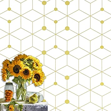 Amazon Com 197 X17 7 Geometric White Contact Paper Yellow Gold Wallpaper White Geometric Yellow Gold Peel And Stick Wallpaper Removable Wallpaper Striped Wall Paper Self Adhesive Shelf Drawer Liner Vinyl Roll Home Improvement