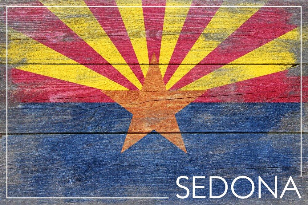 セドナ、Arizonaアリゾナ州 – 素朴な状態フラグ 24 x 36 Giclee Print LANT-56870-24x36 B017ZK7UU0  24 x 36 Giclee Print