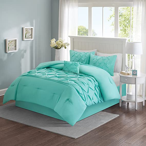 Review Comfort Spaces – Cavoy Comforter Set - 5 Piece – Tufted Pattern – Aqua – Full/Queen size, includes 1 Comforter, 2 Shams, 1 Decorative Pillow, 1 Bed Skirt