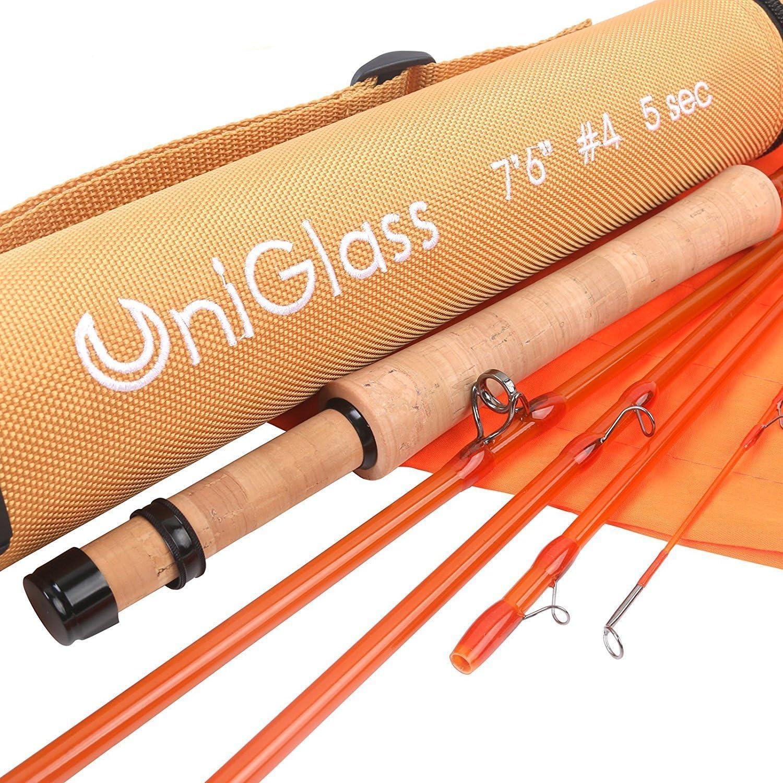 M MAXIMUMCATCH Maxcatch UniGlass フライフィッシングロッド ファイバーグラス トラベル3/5ピースロッド:3/4/5WT フライロッド オレンジ 8'0 '' 5ウェイト 3ピース
