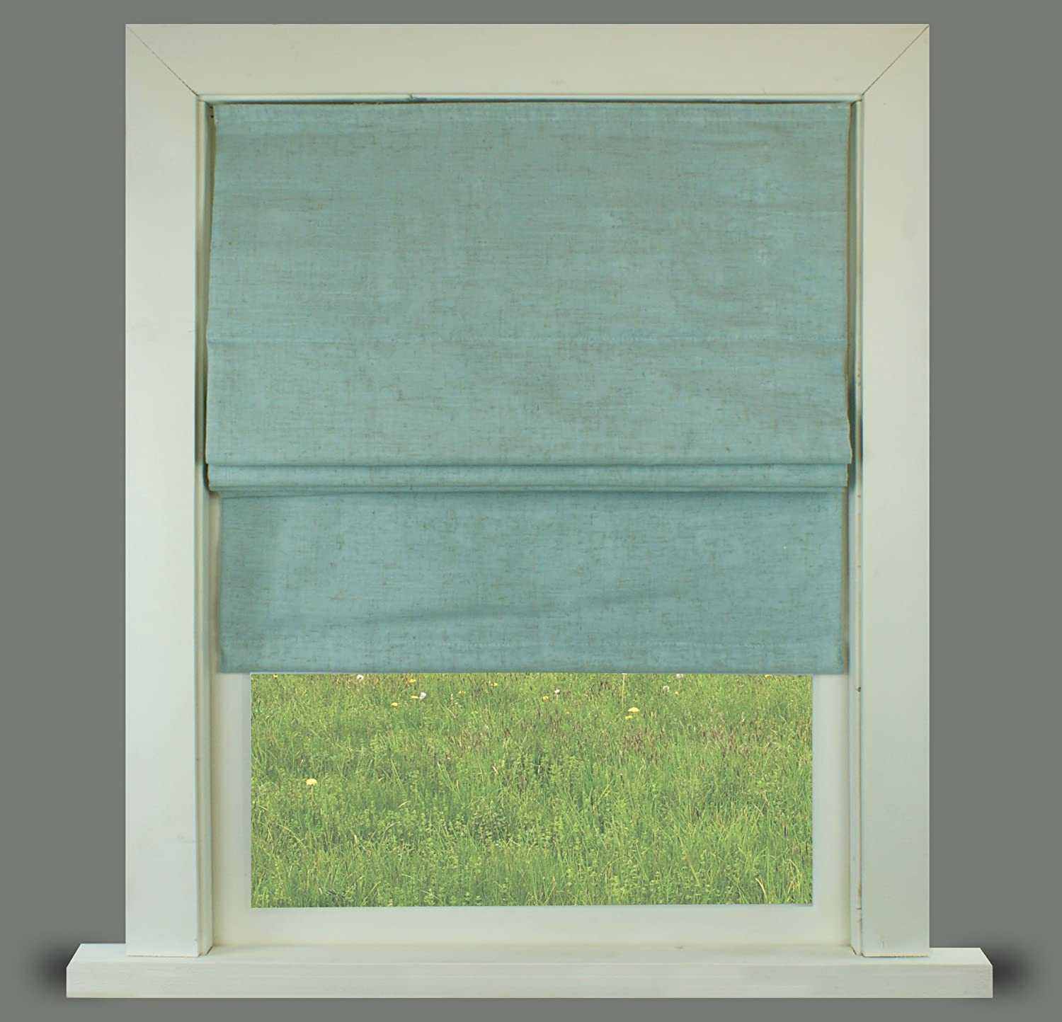 Duck Egg Linen Lined Roman Blind With Fittings (2ft (61cm)) Barnes Textiles
