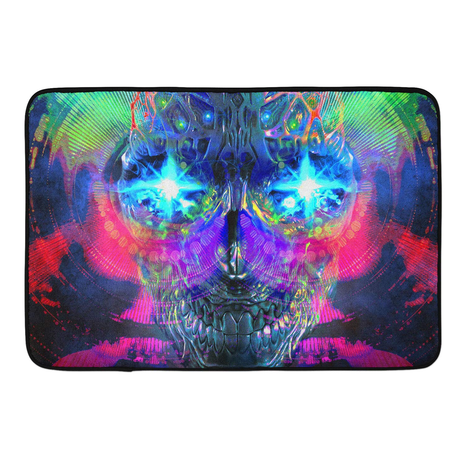 CIGOCI Non-Slip Memory Foam Bath Rugs, 3D Print Psychedelic Trippy Robot - 18 x 36 Inch, Extra Absorbent,Soft,Duarable and Quick-Dry Shaggy Rugs